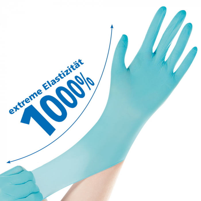 Manusi examinare NEO STRETCH PRO-neoprene,fara pudra-elasticitate 1000%-diverse marimi,turquoise, 100 buc [0]