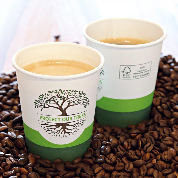Pahar cafea Bio NATURAL Protect TREE certificat FSC - 1 perete - din carton PLA-stratificat - 12 oz, 300ml, 8cm - 50 buc [0]