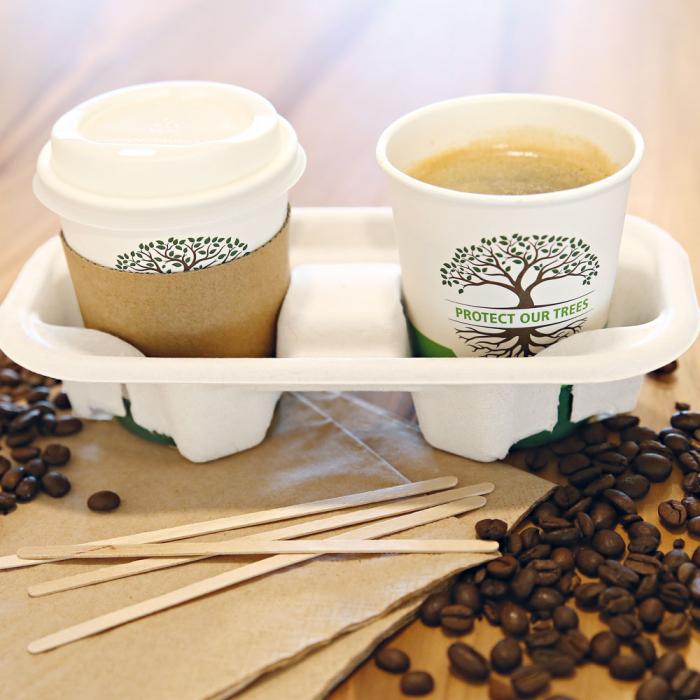 Pahar cafea Bio NATURAL Protect TREE certificat FSC - 1 perete - din carton PLA-stratificat - 12 oz, 300ml, 9cm - 50 buc [0]