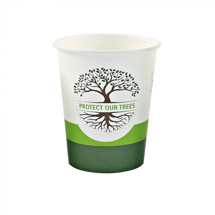Pahar cafea Bio NATURAL Protect TREE certificat FSC - 1 perete - din carton PLA-stratificat - 8 oz, 200ml, 8cm - 50 buc [1]