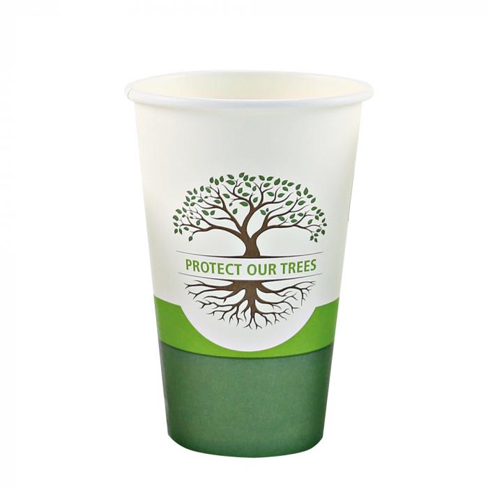 Pahar cafea Bio NATURAL Protect TREE certificat FSC - 1 perete - din carton PLA-stratificat - 8 oz, 200ml, 8cm - 50 buc [2]