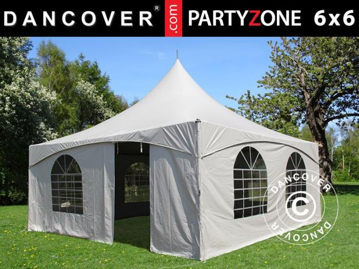 Pavilion PARTYZONE 6x6m tip pagoda - culoare alb- PVC [0]