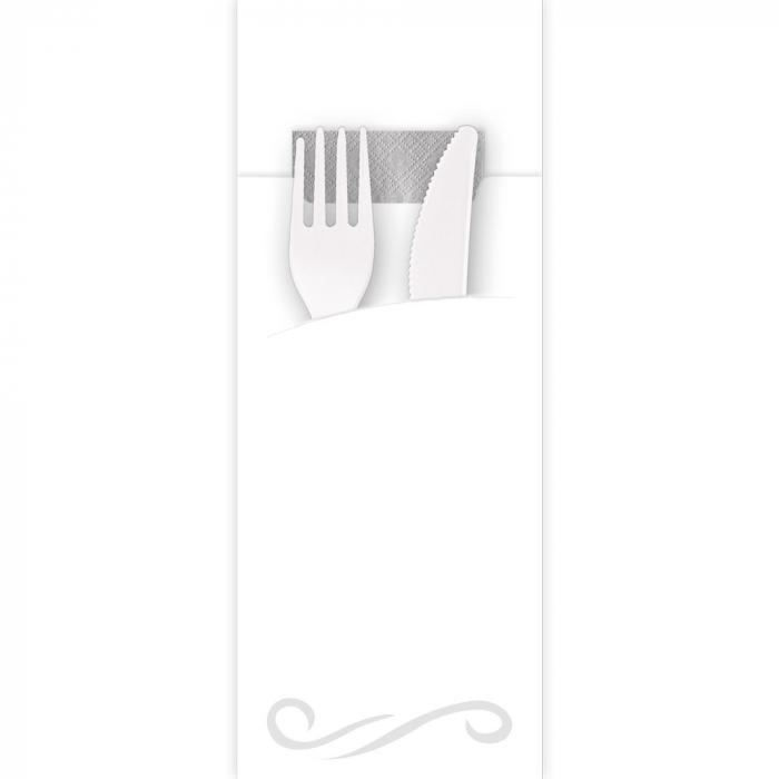 Punga tacamuri CLASIC din FSC mix 20x8.5 cm - cu servetel gri  - culoare alb [0]