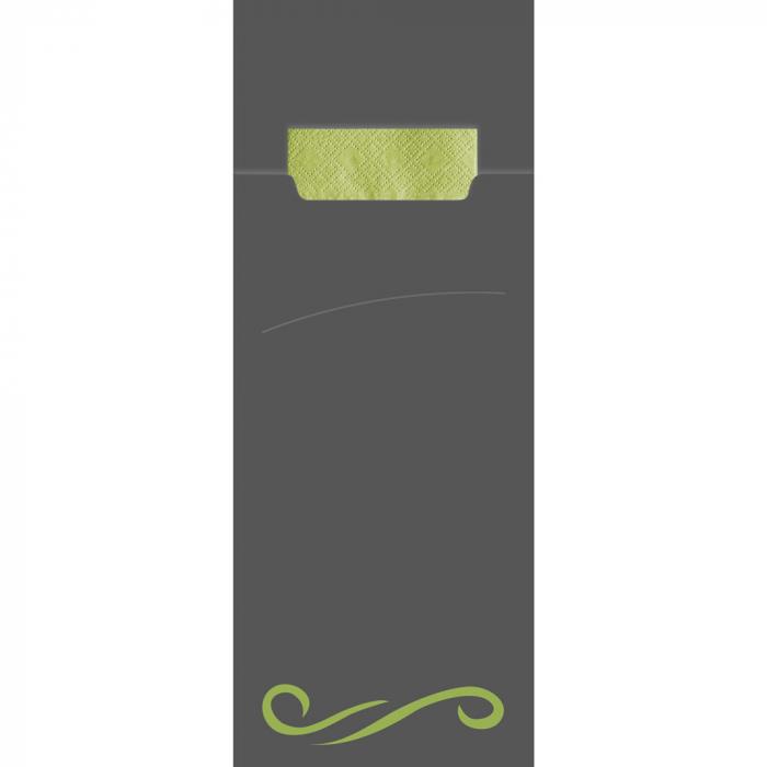 Punga tacamuri CLASIC din FSC mix 20x8.5 cm - cu servetel lime - culoare gri [0]