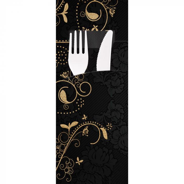 Punga tacamuri ELEGANZA din FSC mix 20x8.5 cm - cu servetel negru - printat cu motiv - culoare negru [0]