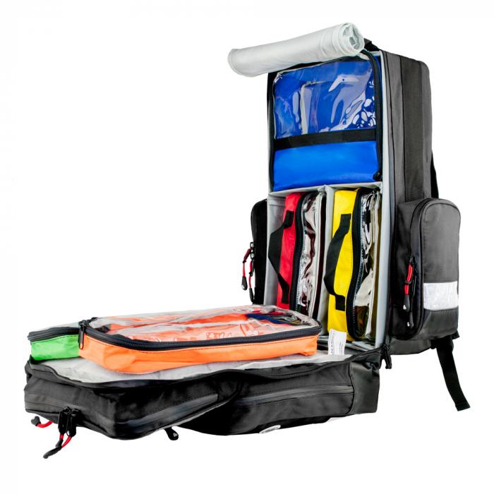 Rucsac medic pentru ambulanta PRO BLACK din TeflonSHIELD - impermeabil - 45x25x20 cm - cu fermoar si 5 module [4]