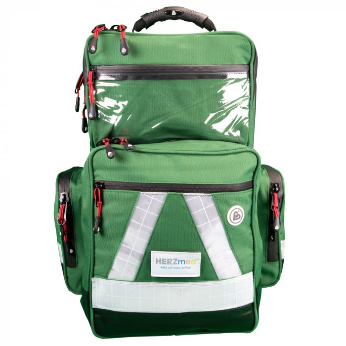 Rucsac medic pentru ambulanta PRO GREEN din TeflonSHIELD - impermeabil - 45x25x20 cm - cu fermoar si 5 module [0]