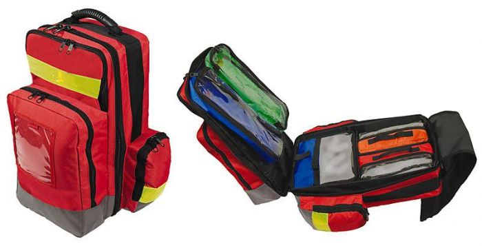 Rucsac urgente din poliester - medium - cu genti modulare la interior diverse culori - 48x35x23 cm - rosu [1]