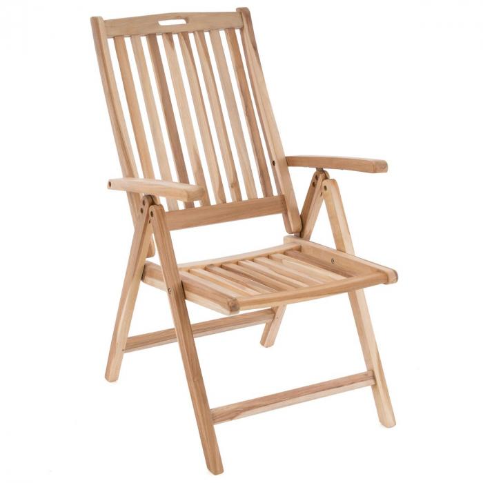 Scaun pentru terasa din lemn de salcam reglabil in 5 pozitii [0]