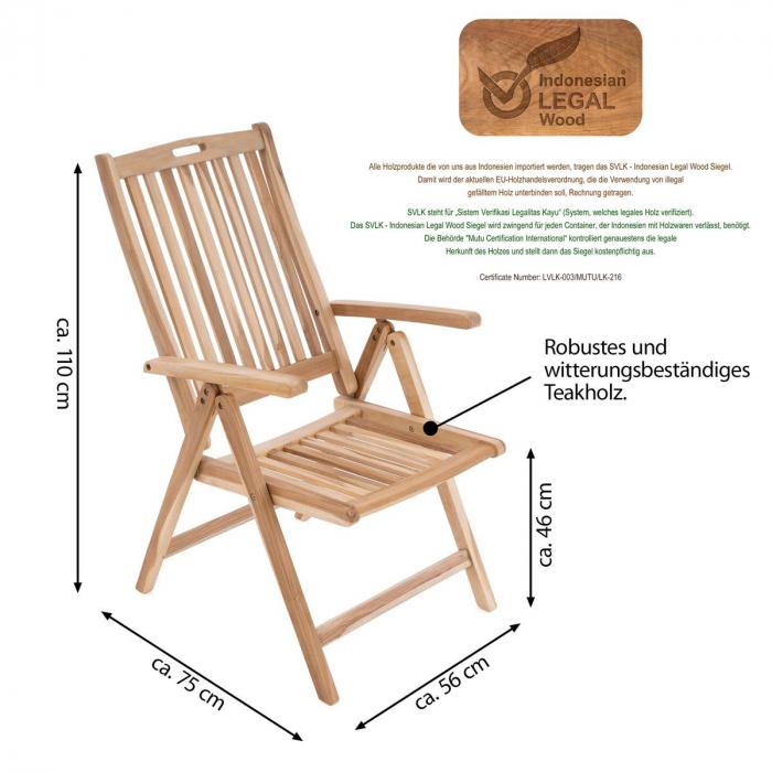Scaun pentru terasa din lemn de salcam reglabil in 5 pozitii [2]
