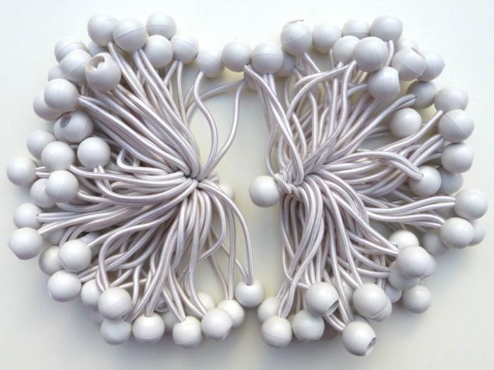 Snur elastic cu bila pentru pavilion, cort - culoare alb [0]