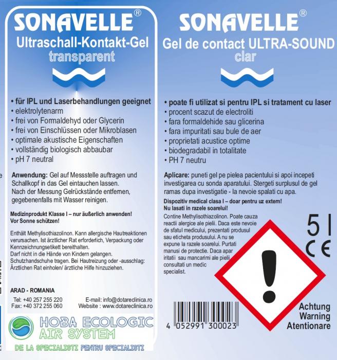 Ultrasound gel contact SONAVELLE transparent - diagnostic si terapie ( IPL si laser) 5 L [1]