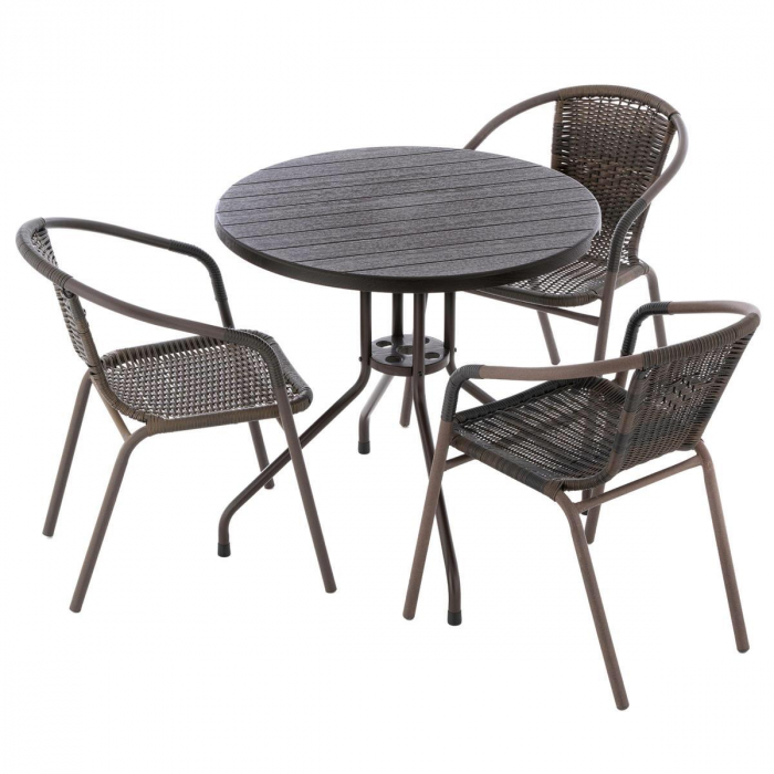 Masa tip Bistro lemn design - 80x80x75 cm - rotunda ABS culoare maro inchis cu 3 scaune [1]