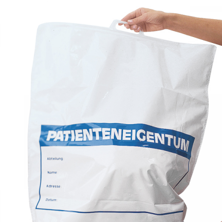 Plasa din polietilena reciclata - pentru haine pacient - inscriptionate - 57x50 cm [0]