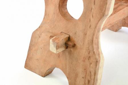 Taburet terasa din lemn de SUAR - masiv in stil taranesc  nefinisat - 49x45x29 cm [2]