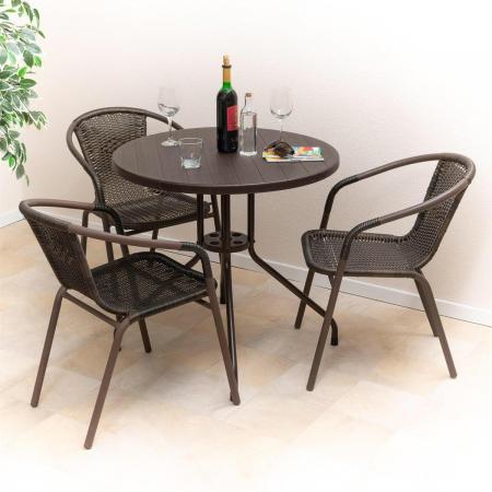 Masa tip Bistro lemn design - 80x80x75 cm - rotunda ABS culoare maro inchis cu 3 scaune [3]