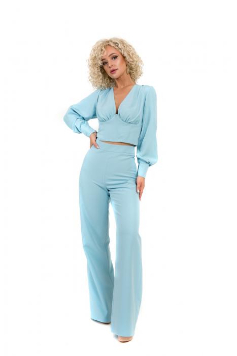 Pantalon bleu evazat [0]