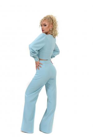 Pantalon bleu evazat [3]