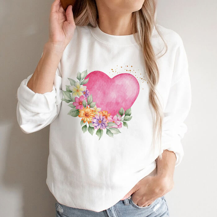 Bluza Dama Alba Pink Heart Flowers [0]