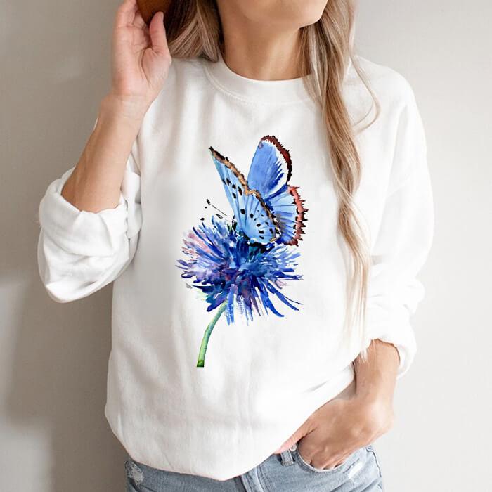 Bluza Dama Alba Butterfly On Flower [0]