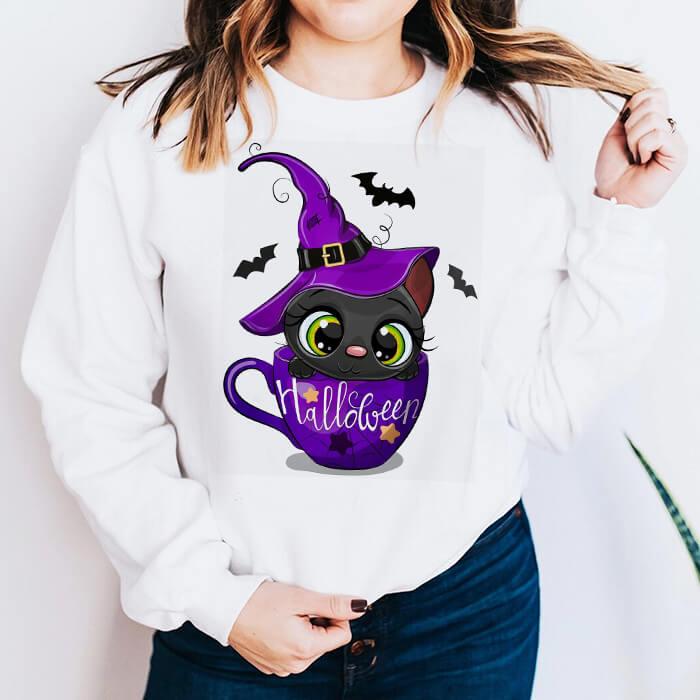 Bluza Dama Alba Halloween Cat [0]