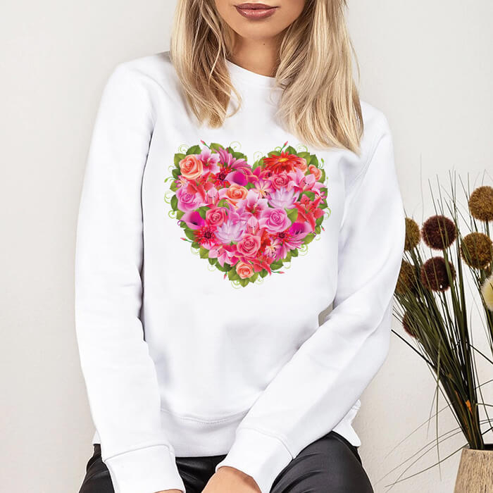 Bluza Dama Alba Red And Pink Flowers Heart [0]