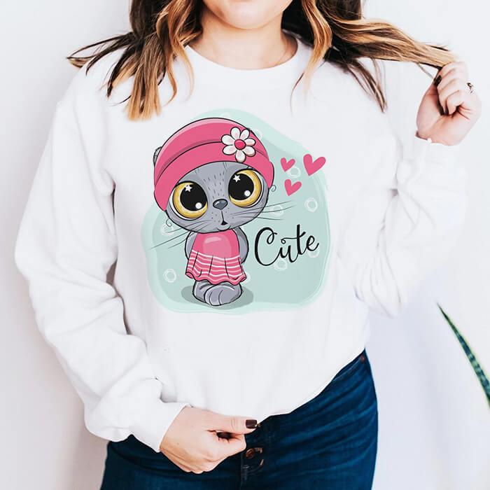 Bluza Dama Alba Cute Cat [0]
