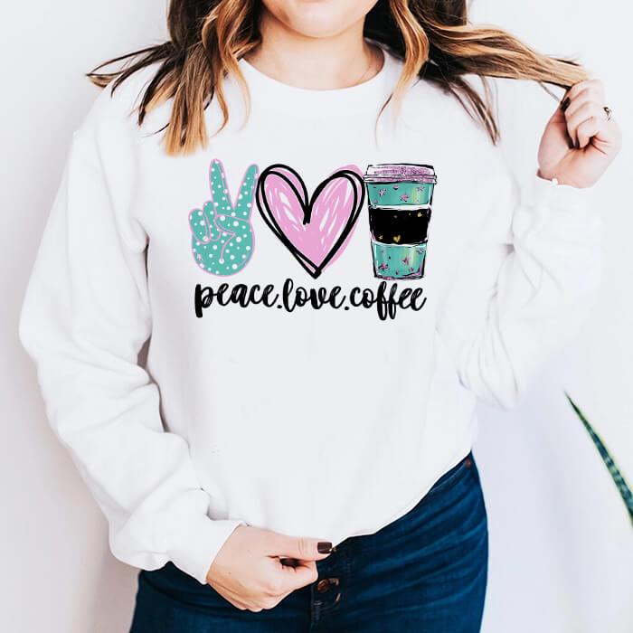 Bluza Dama Alba Peace Love Coffee (Green) [0]