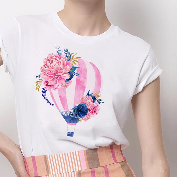 Tricou Dama Alb Balloon Flower [0]
