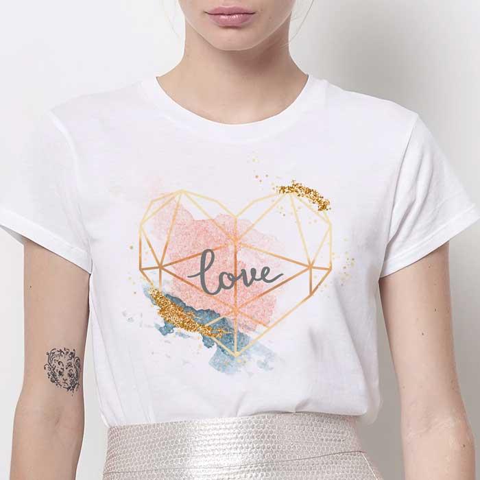 Tricou Dama Alb Abstract Love [0]