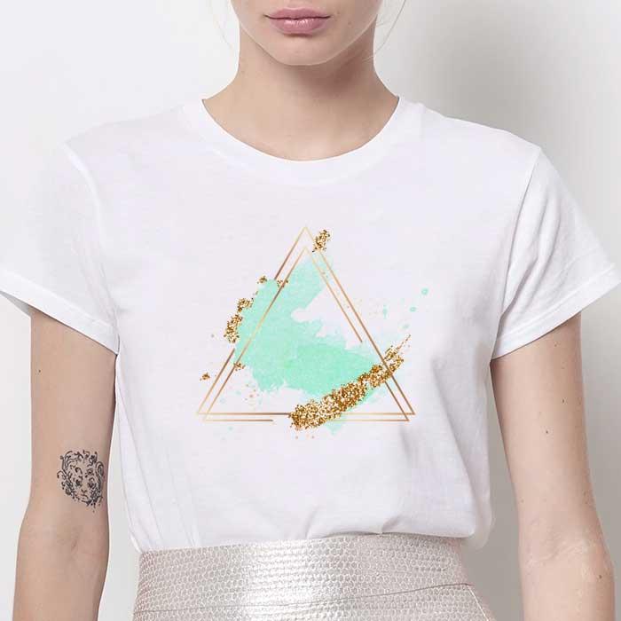 Tricou Dama Alb Abstract Green [0]