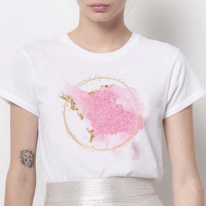 Tricou Dama Alb Abstract Pink [0]