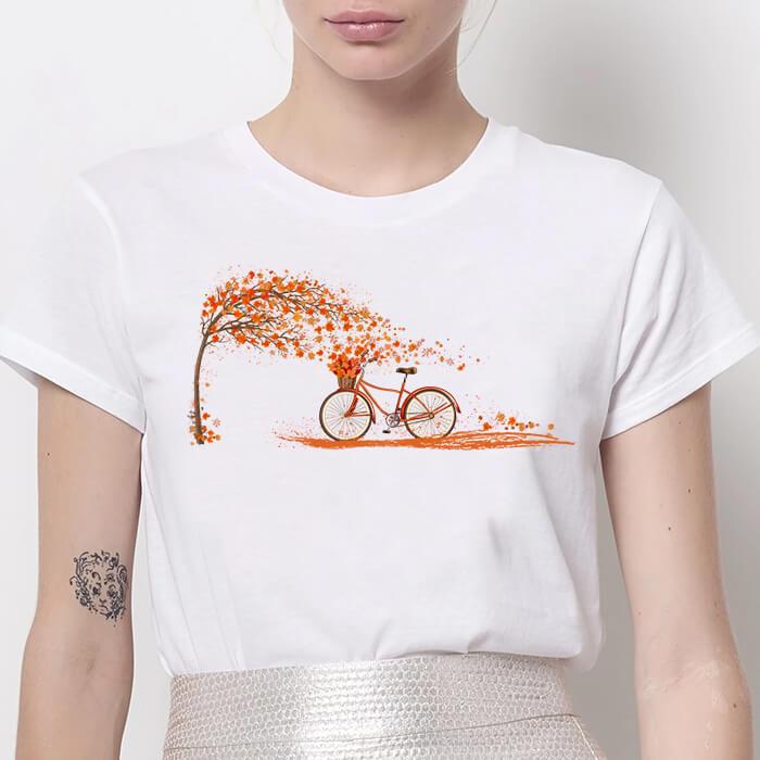 Tricou Dama Alb Autumn Ride [0]