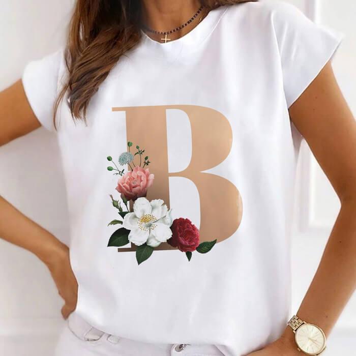 "Tricou Dama Alb Alfabet Litera ""B"" [0]"