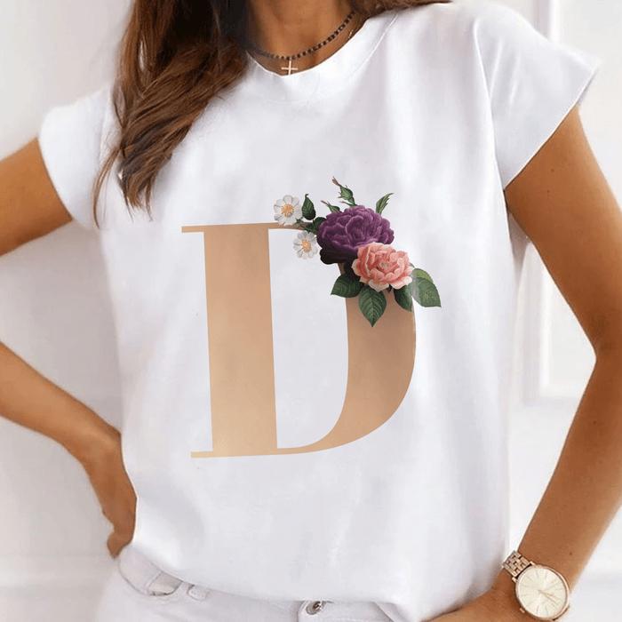 "Tricou Dama Alb Alfabet Litera ""D"" [0]"