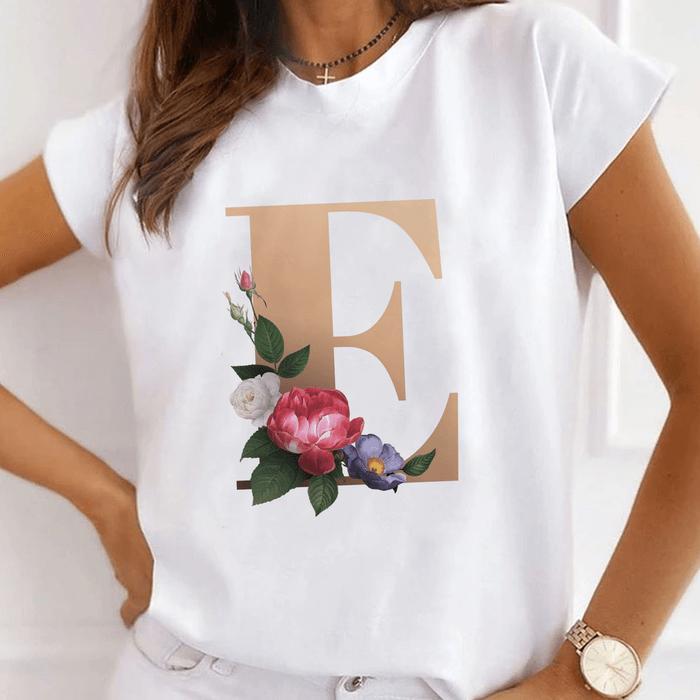 """Tricou Dama Alb Alfabet Litera """"E"""" [0]"""