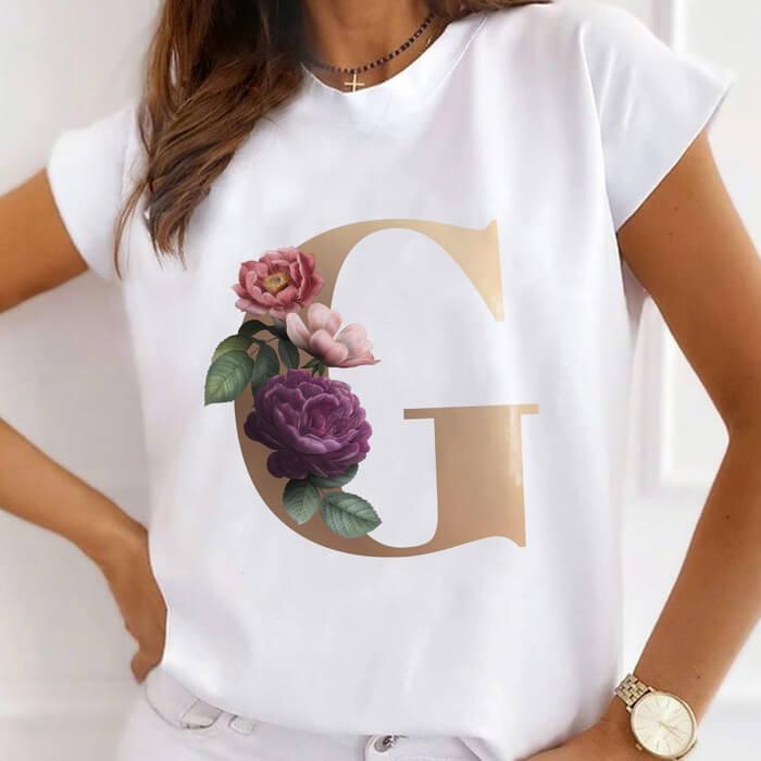 "Tricou Dama Alb Alfabet Litera ""G"" [0]"