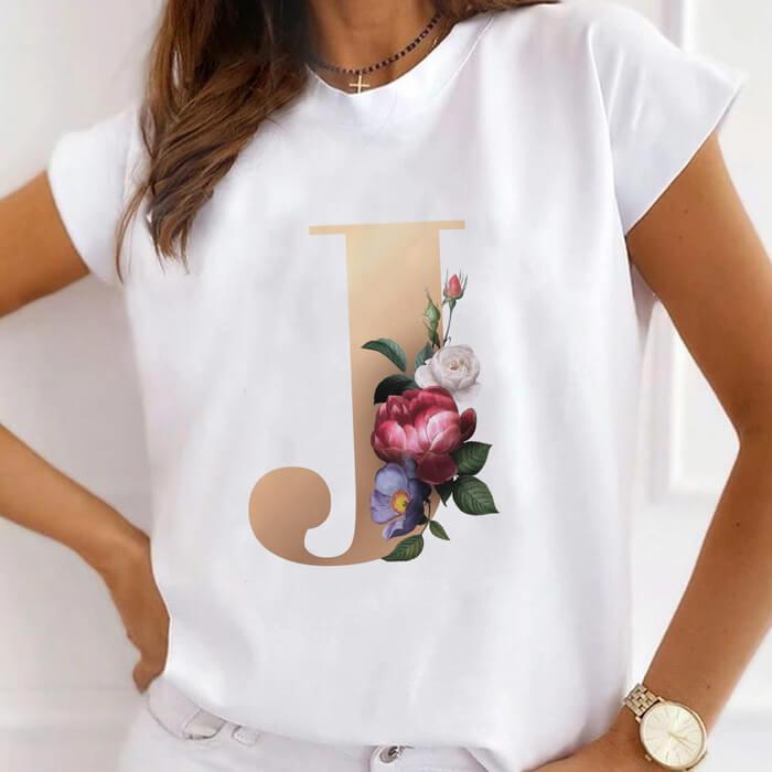 "Tricou Dama Alb Alfabet Litera ""J"" [0]"