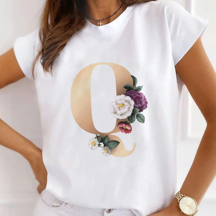 """Tricou Dama Alb Alfabet Litera """"Q"""" [0]"""