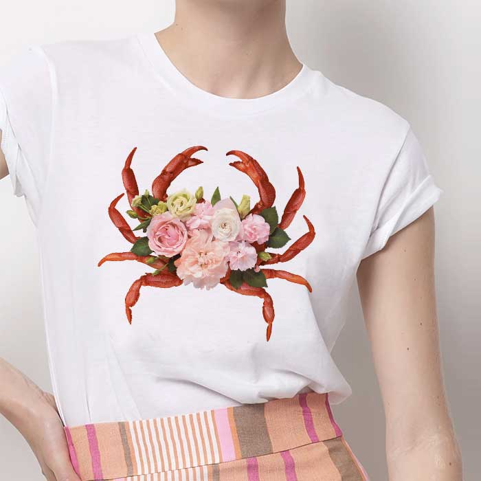 Tricou Dama Alb Floral Crab [0]