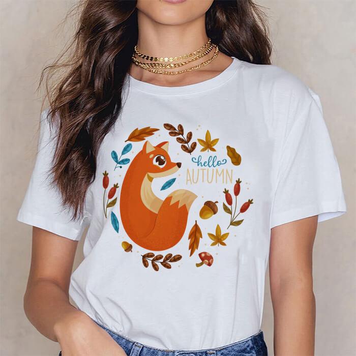 Tricou Dama Alb Autumn Fox [0]