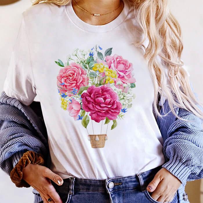 Tricou Dama Alb Sky Flowers [0]