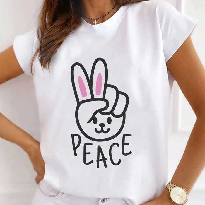 Tricou Dama Alb Rabbit Peace [0]