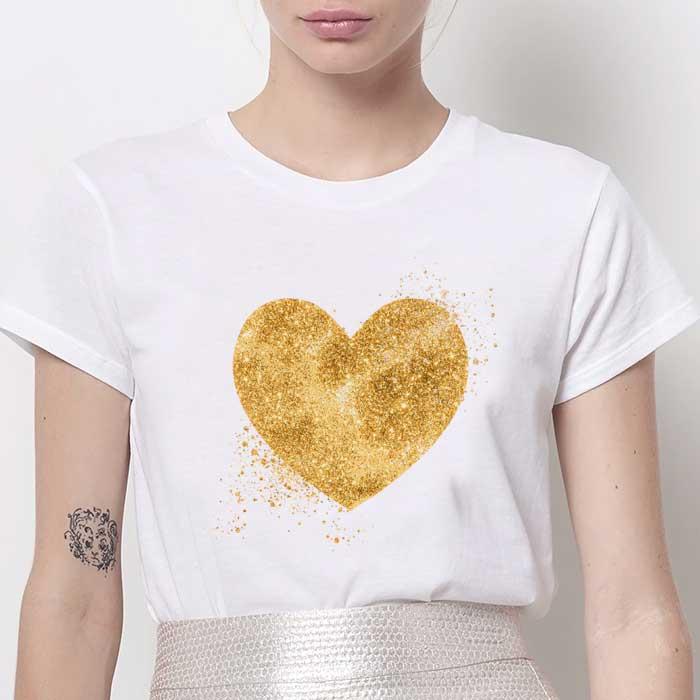 Tricou Dama Alb Golden Heart [0]