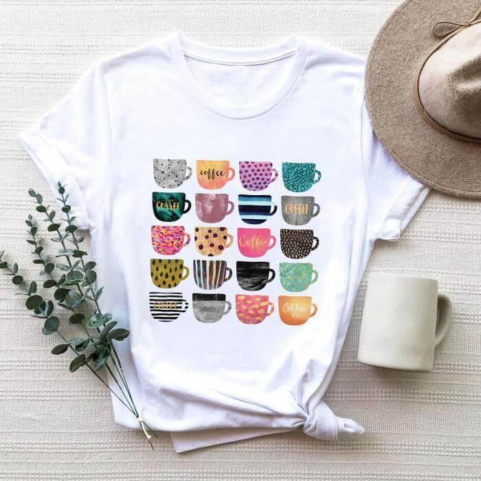 Tricou Dama Alb Coffee Cups [0]