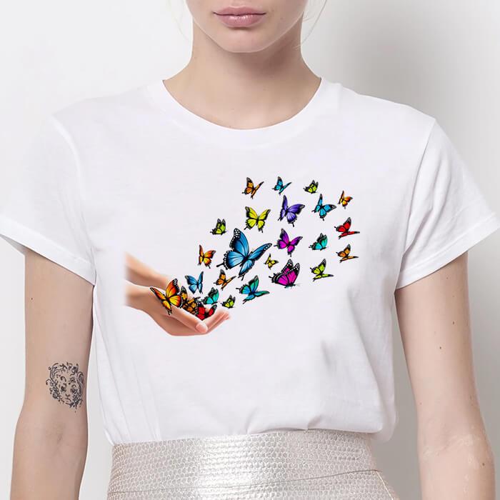 Tricou Dama Alb Colorful Butterflies [0]
