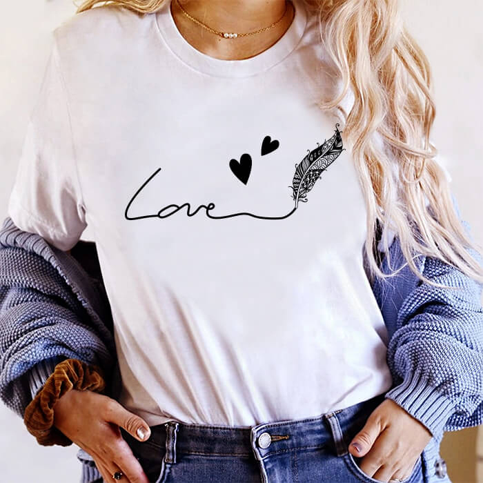 Tricou Dama Alb Feather Of Love [0]