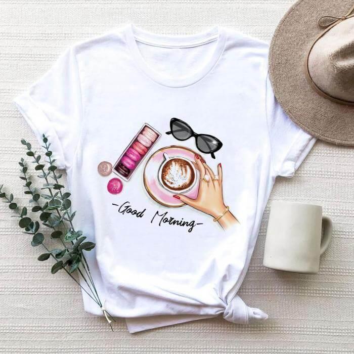 Tricou Dama Alb Good Morning Coffee [0]
