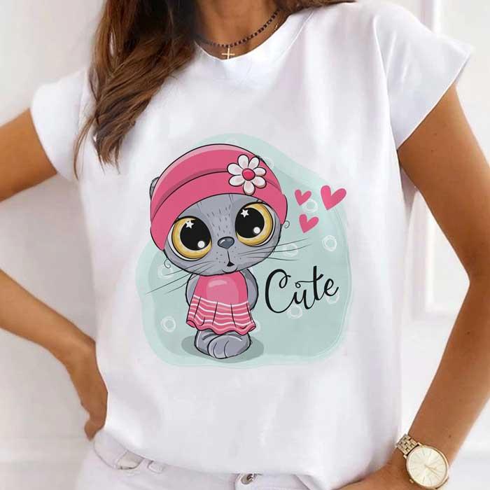 Tricou Dama Alb Cute Cat [0]