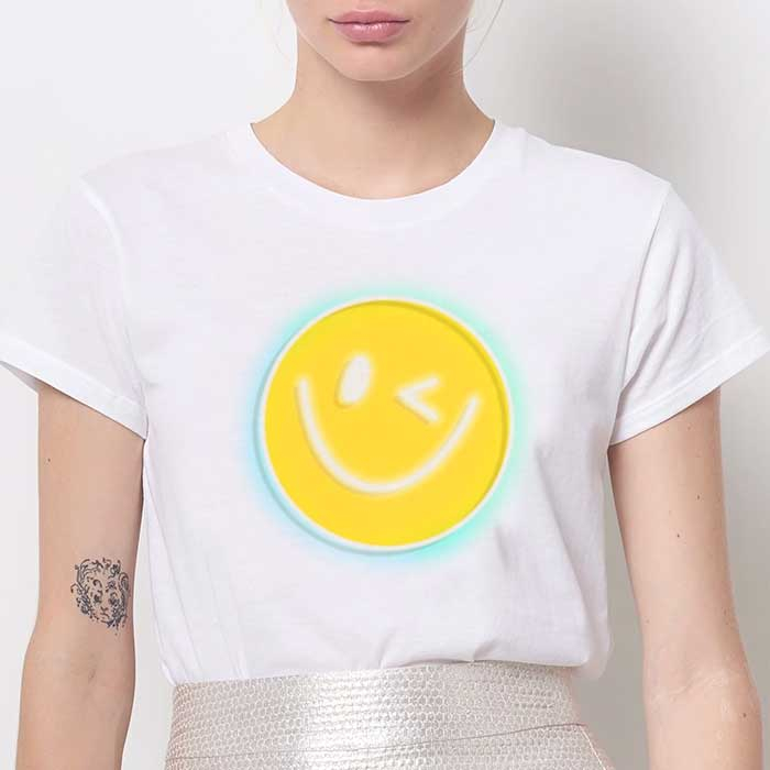 Tricou Dama Alb Yellow Smiley [0]